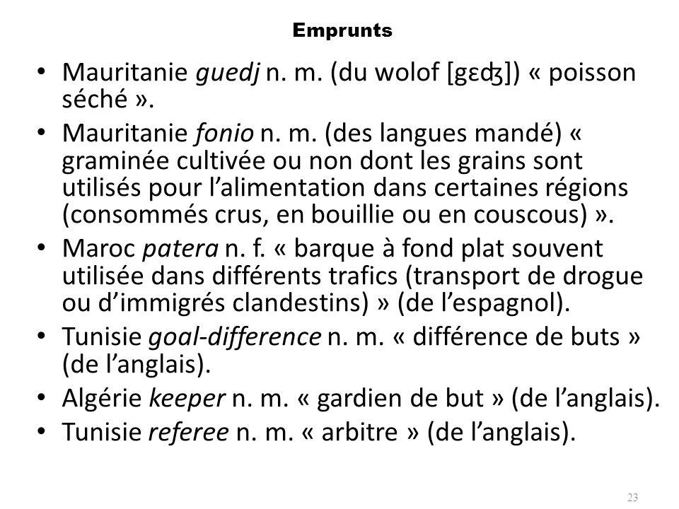 Mauritanie guedj n. m. (du wolof [gɛʤ]) « poisson séché ».